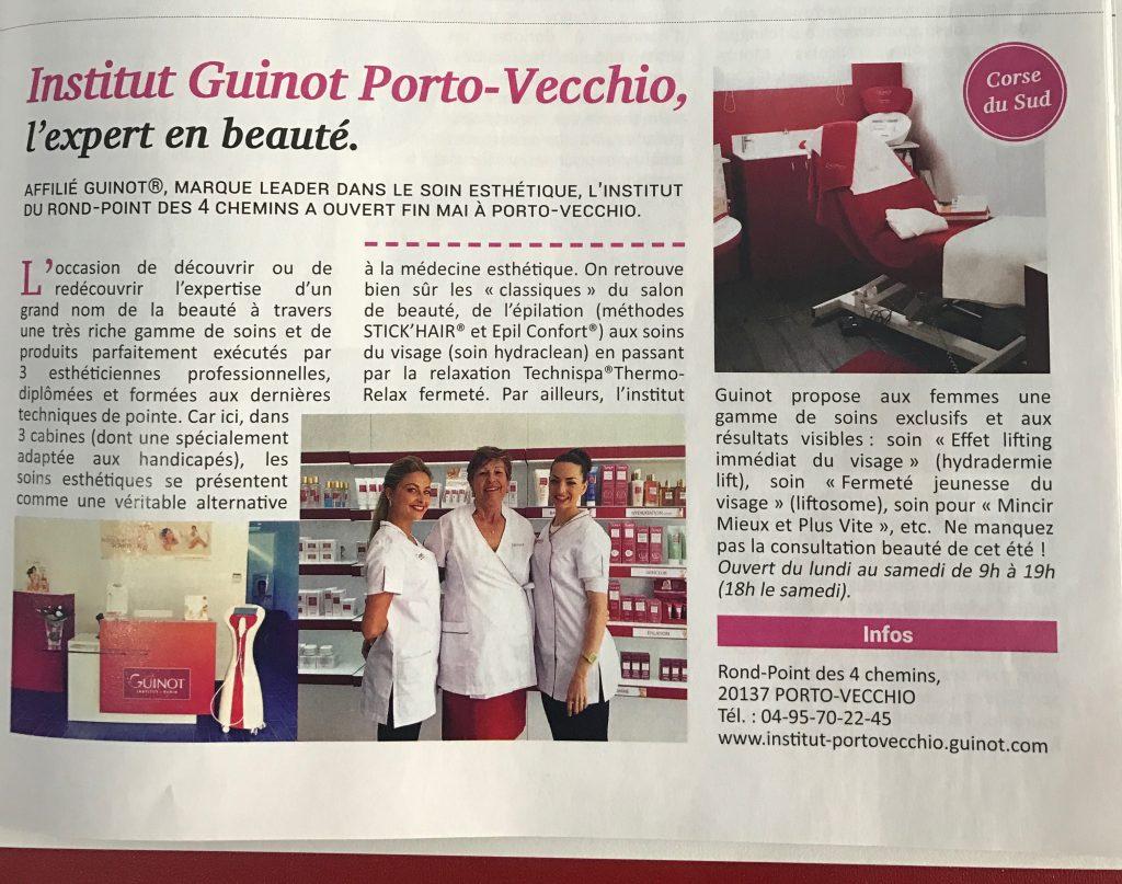 Article Institut Guinot Porto Vecchio